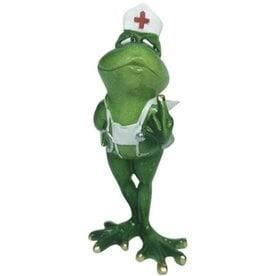 Kikker verpleegster beeldje Frog Nurse figurine - 19cm, polyresin