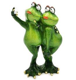 Kikker Meiden Selfie beeld Frog Girls Selfie figurine - 21cm, polyresin