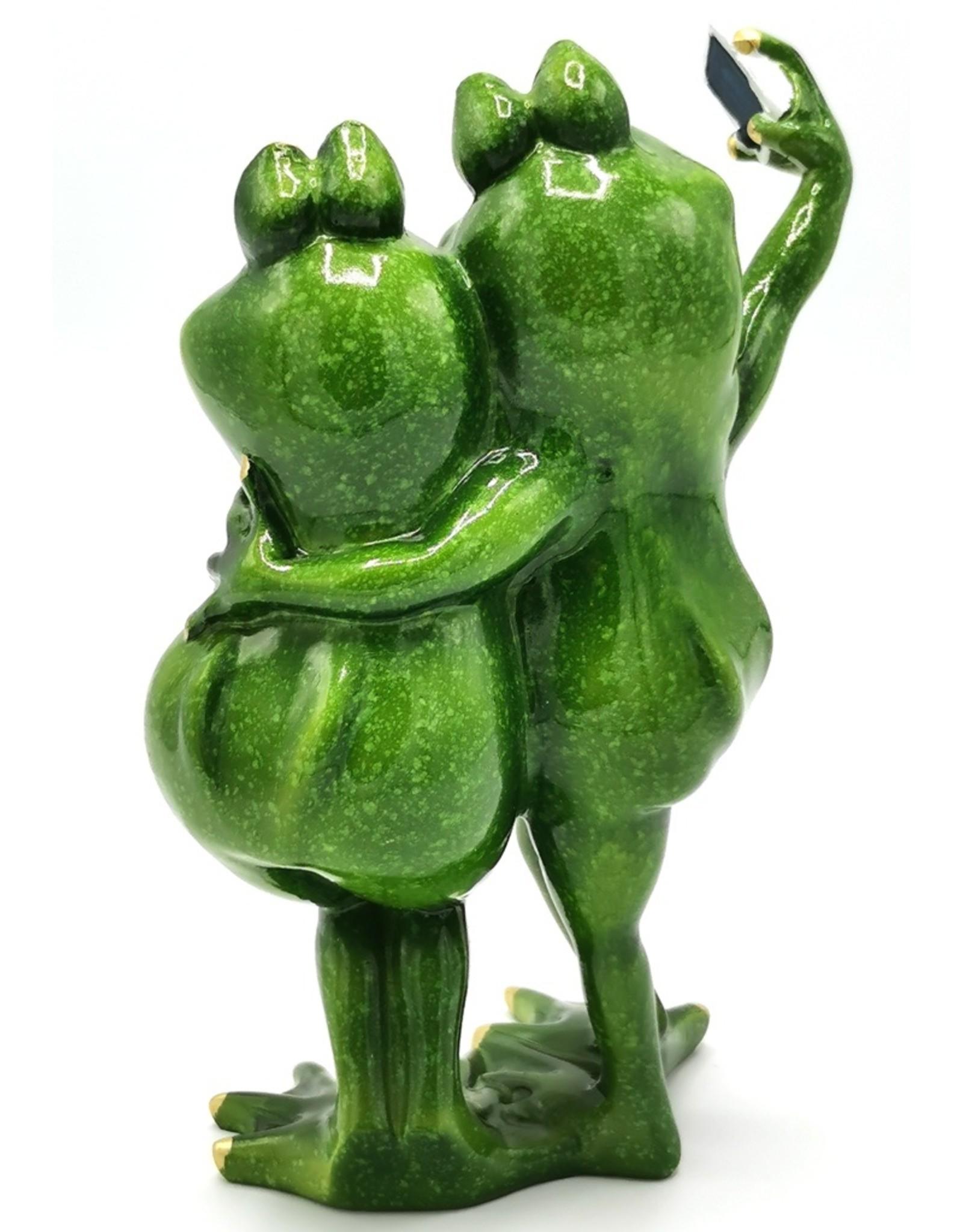 Kikker Meiden Selfie beeld Giftware Figurines Collectables - Frog Girls Selfie figurine - 21cm, polyresin