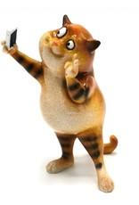 Kat Selfie beeldje Giftware Figurines Collectables - Cat takes a Selfie figurine - 15cm, polyresin