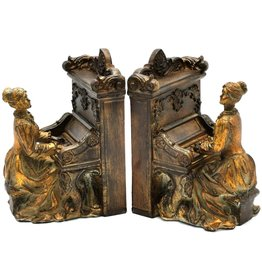 Barok Bookends Lady and Piano Baroque style set of 2