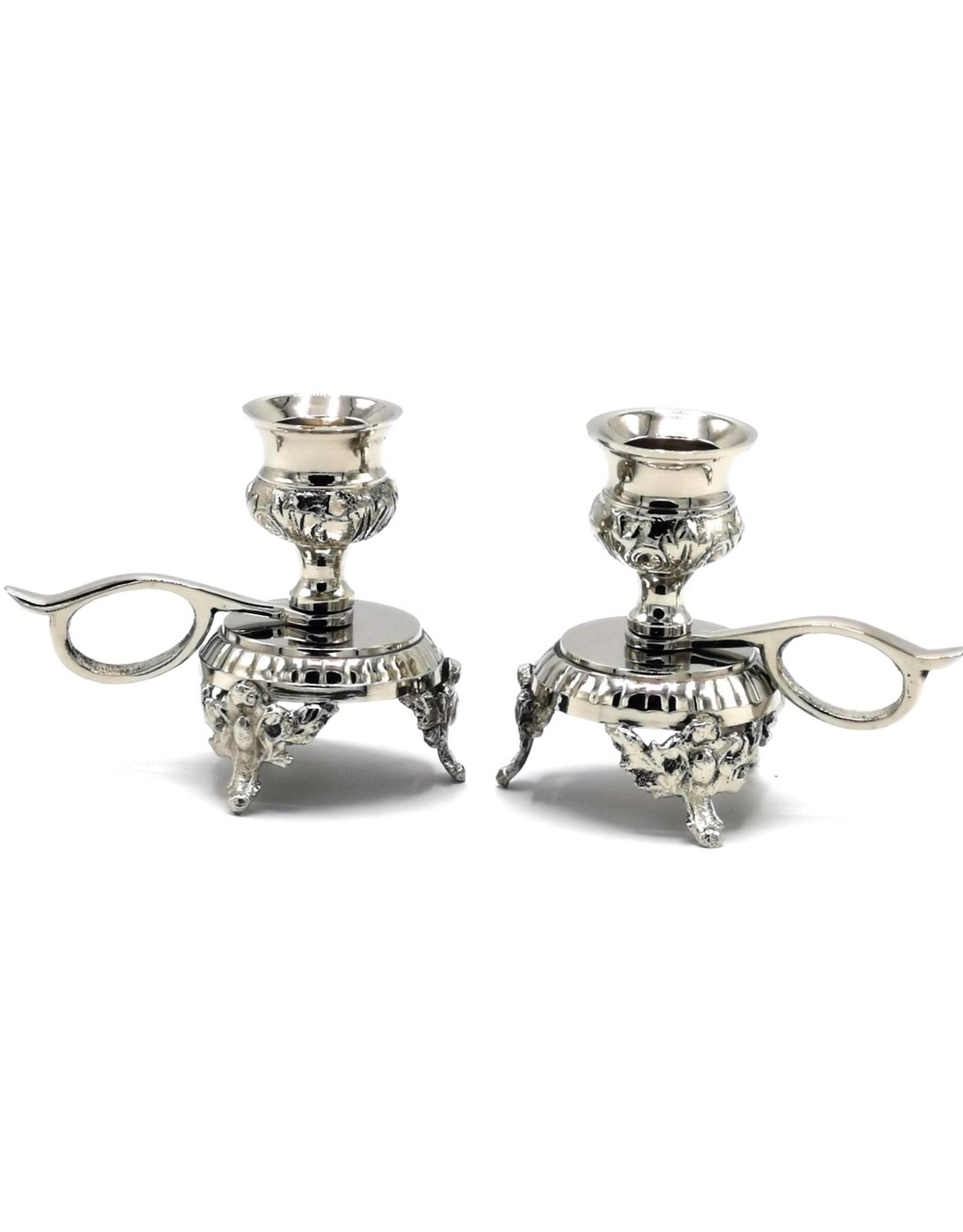 Barok Giftware & Lifestyle - Barok Minikandelaren - set van 2, zilverkleurig