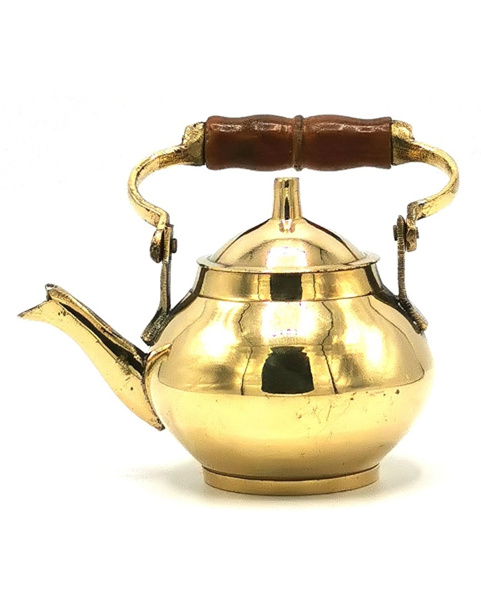Koperen theepot Giftware, beelden, collectables - Miniatuur Theepot  met houten handvat, Messing