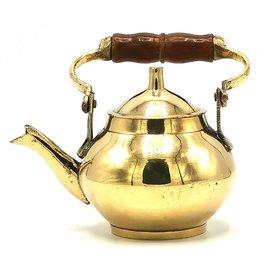 Koperen theepot Miniature Teapot with wooden handle, Brass