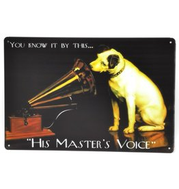 Jack Russel grammofoon metalen bord His Master's Voice Metal Sign Nipper