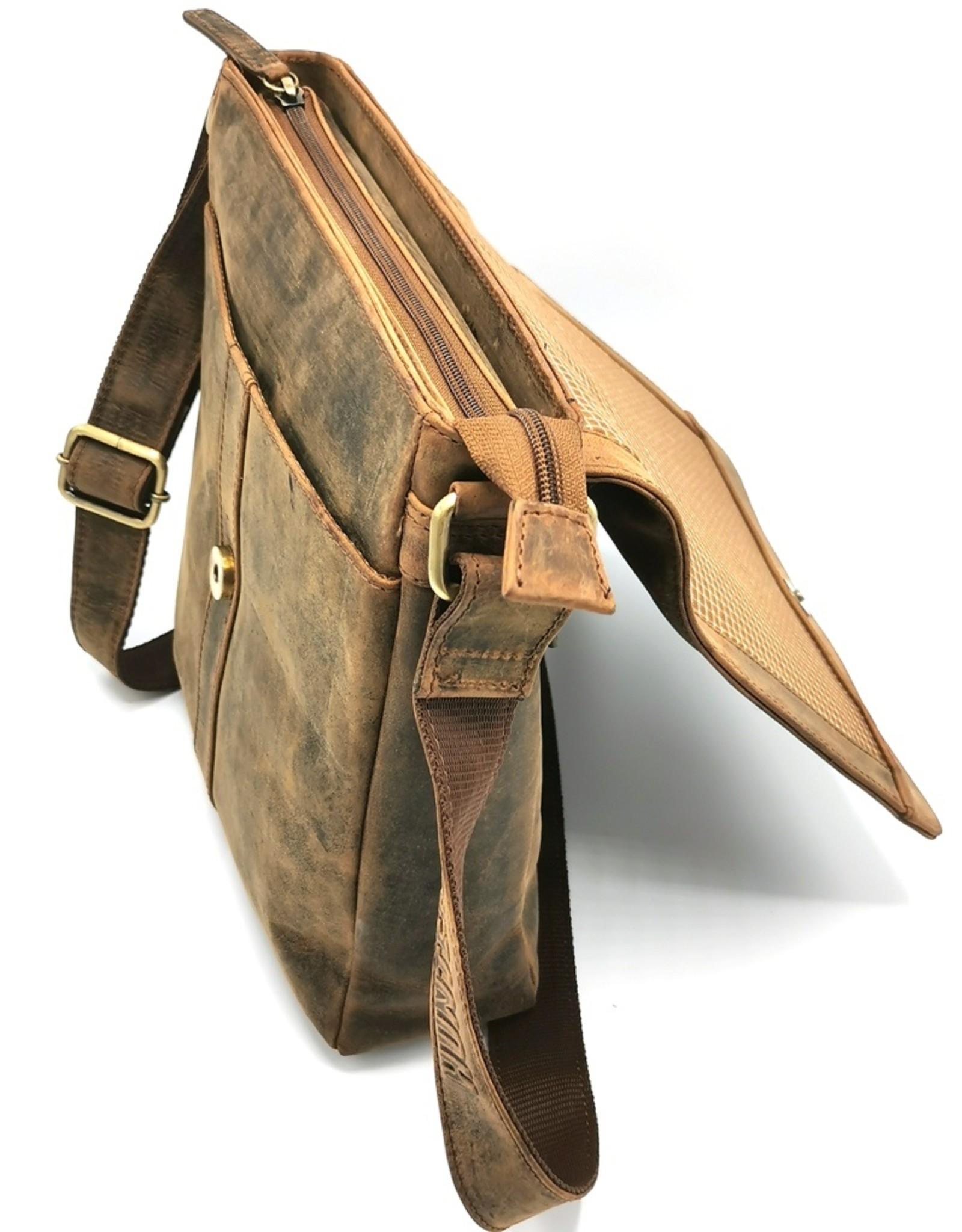 Hunters Leren schodertassen Leren crossbody tassen - Hunters Leren Crossbody tas Buffelleer (donker tan)