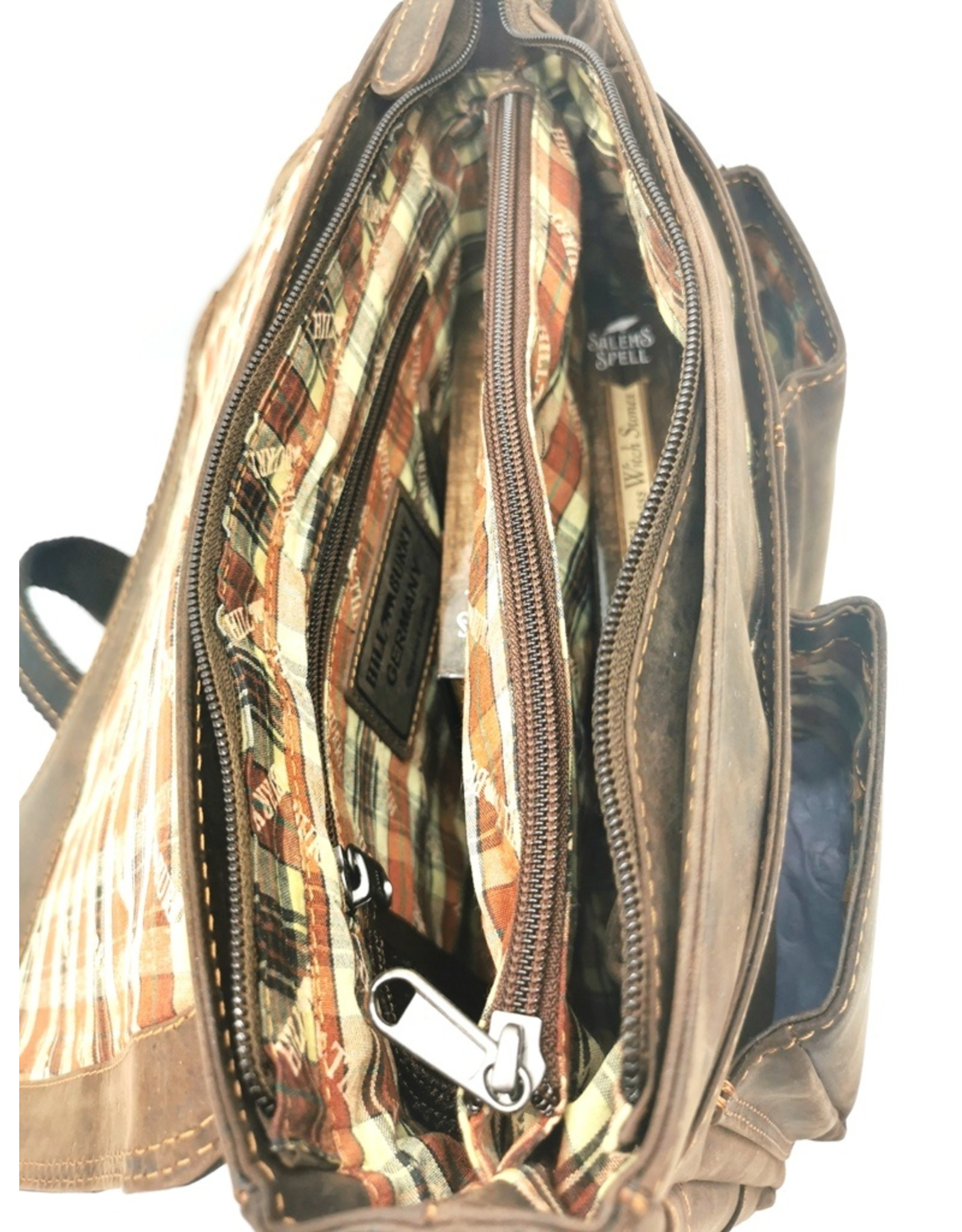 HillBurry Leren Schoudertassen Leren Crossbody tassen - HillBurry Leren messenger tas met holster omslag  (medium)