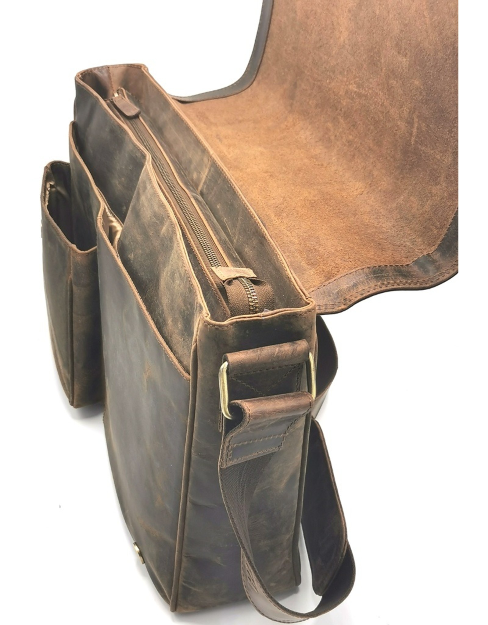 Hunters Leather Workbags and Leather Laptop Bags - Hunters Laptop Bag Buffalo Leather XL size