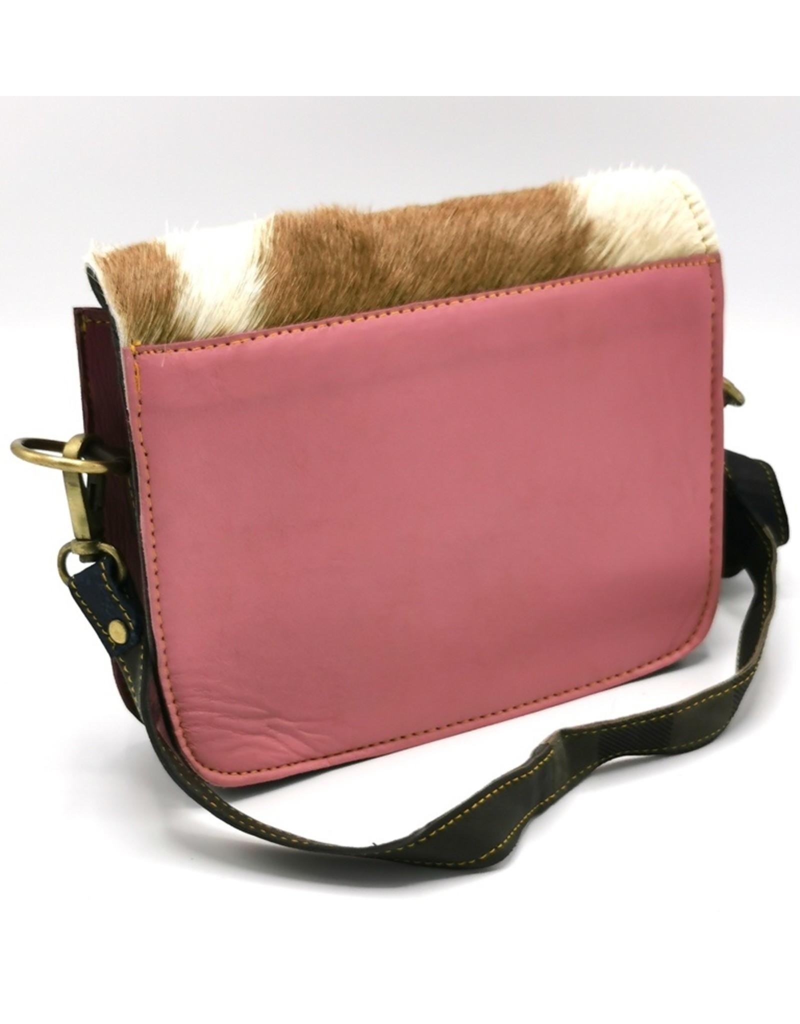 leren schoudertas van gekleurd leer met omslag van koeienhuid Leather Shoulder bags  Leather crossbody bags - Coloured leather shoulder bag with cowhide cover