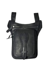 HillBurry Leather Festival bags, waist bags and belt bags - Hillburry motorcycle leg bag genuine leather black