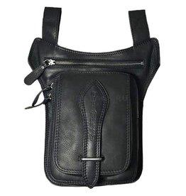 HillBurry Hillburry motorcycle leg bag genuine leather black