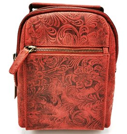 Hunters Leather Backpack with Relief Flower pattern red