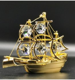Crystal Temptations Miniature Sailboat. Gold-plated and with Swarovski