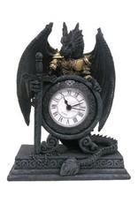 Dragon clock Giftware Beelden Collectables  - Draak in pantser met klok