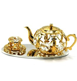 Crystal Temptations Miniature Tea Service. Gold-plated and with Swarovski