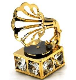 Crystal Temptations Miniatuur Grammofoon - verguld en met Swarovski