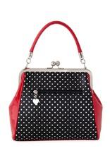 Banned Retro tassen en vintage tassen - Banned Polka Star handtas zwart-rood