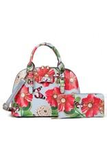 Trukado Modieuze tassen - Handtas met bloemen en vlinders Poppy lichtblauw