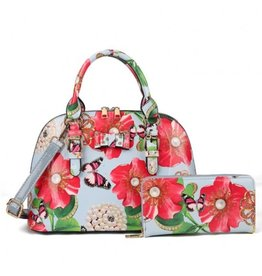 Trukado Handbag with flowers and butterflies Poppy lightblue
