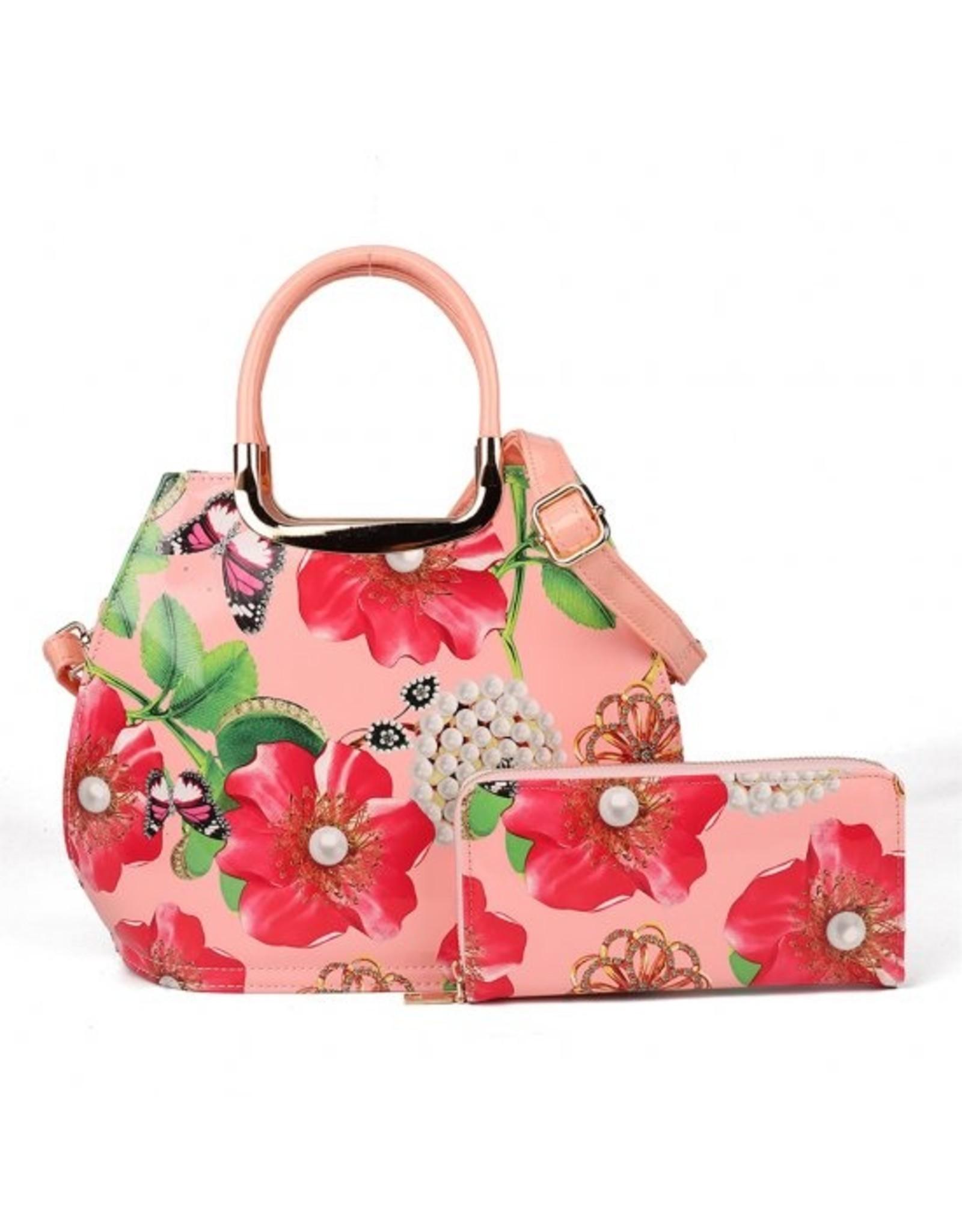 Trukado Modieuze tassen - Handtas met bloemen Poppies & Pearls pink