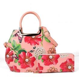 Trukado Handbag with flowers Poppies & Pearls pink
