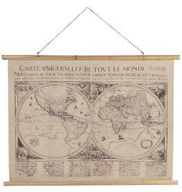 wandkaart Wereldkaart World map - textile 100cm -75cm; 105cm x  -76cm