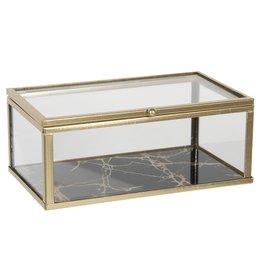 Glazen juwelendoosje Glass jewellery box  - presentation box 17x10x7 cm
