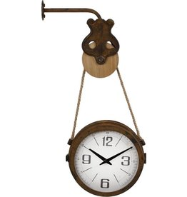 Trukado Wall clock with pulley - industrial, double sided
