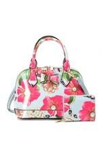Trukado Modieuze tassen - Handtas met bloemen en strik Flower Bow licht blauw
