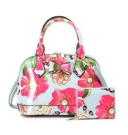 Trukado Handbag with flowers and bow Flower Bow lightblue