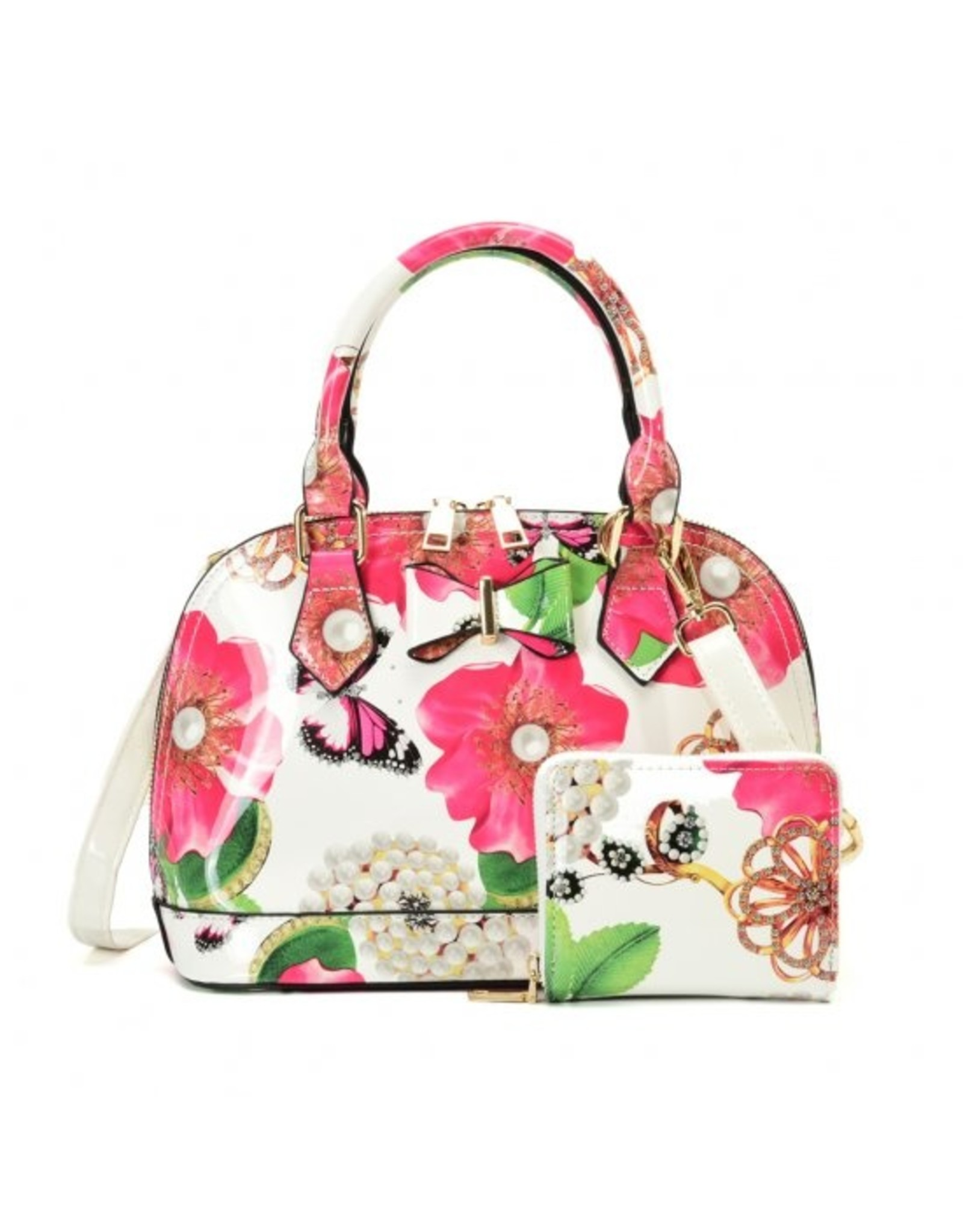 Trukado Fashion bags - Handbag with flowers and bow Flower Bow white