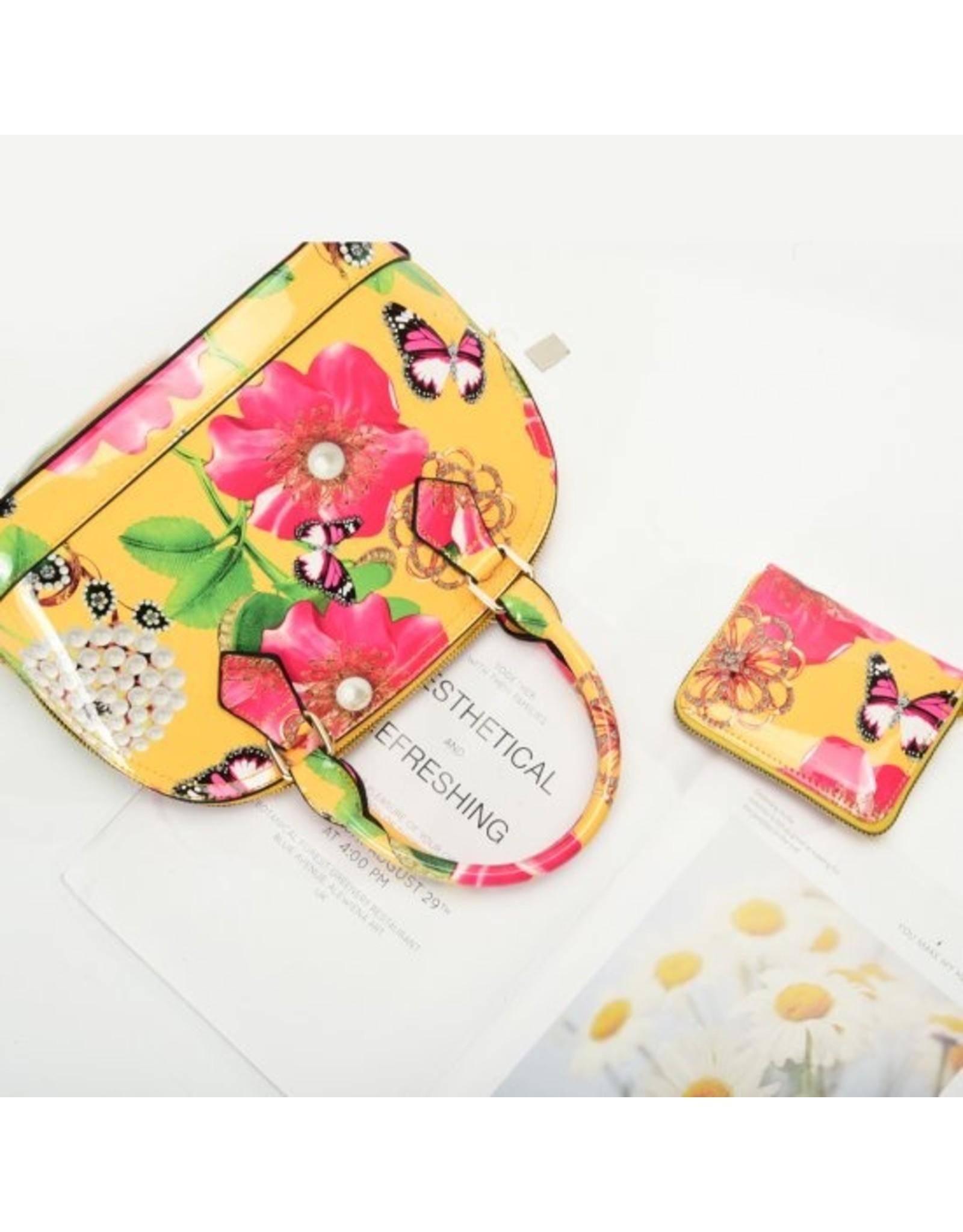Trukado Modieuze tassen - Handtas met bloemen en strik Flower Bow geel