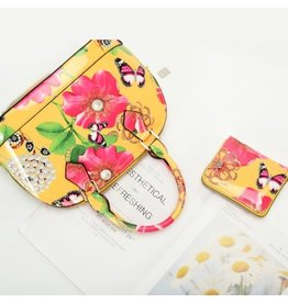 Trukado Handtas met bloemen en strik Flower Bow geel