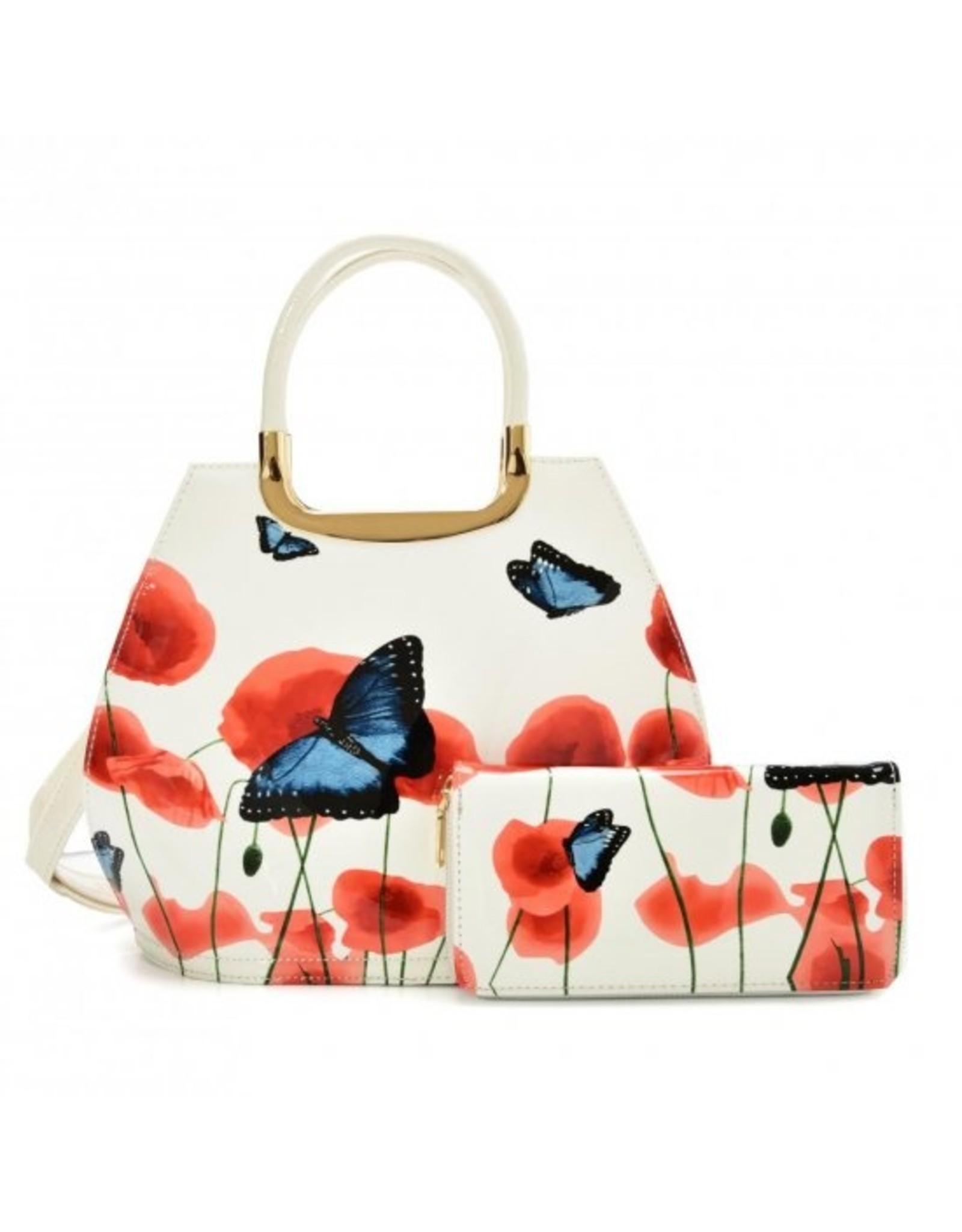 Trukado Modieuze tassen - Handtas met vlinders  Vintage Butterfly wit