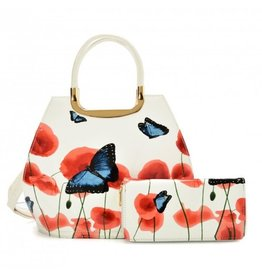 Trukado Handbag with butterflies Vintage Butterfly white
