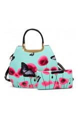 Trukado Modieuze tassen - Handtas met vlinders Vintage Butterfly blauw
