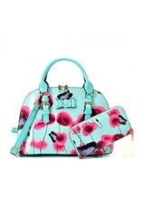 Trukado Modieuze tassen - Handtas met bloemen en vlinders Butterfly Poppy  blauw
