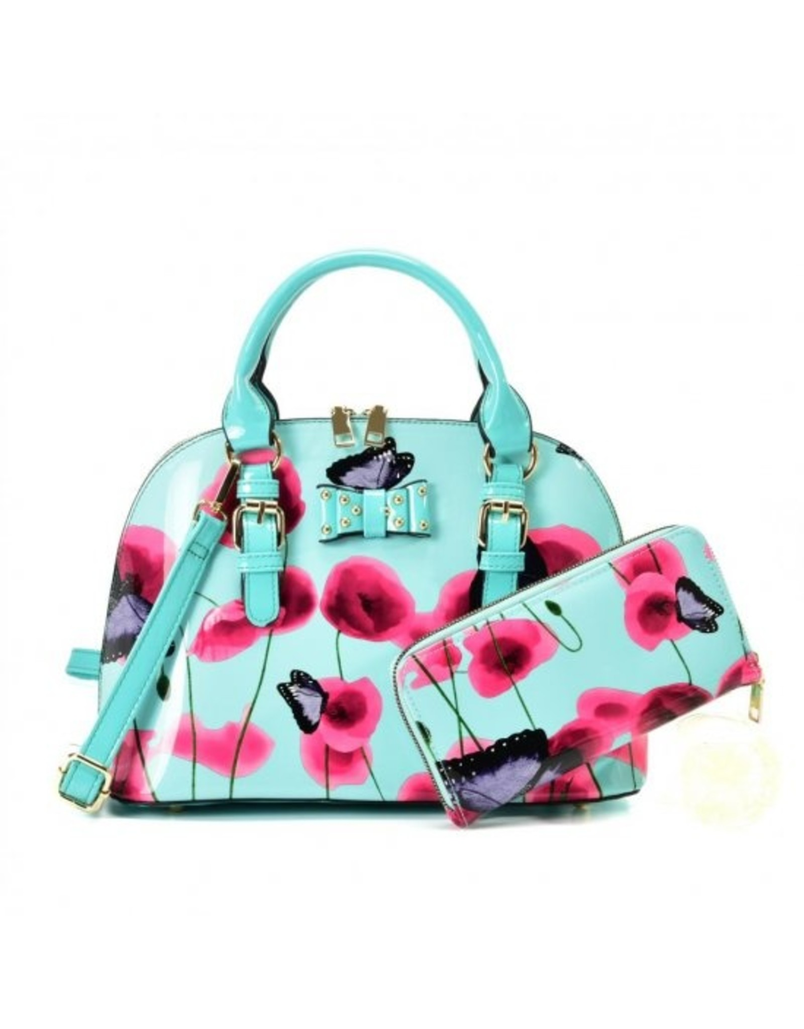 Trukado Fashion bags - Handbag with flowers and butterflies Butterfly Poppy  blue