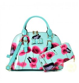 Trukado Handtas met bloemen en vlinders Butterfly Poppy  blauw