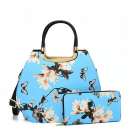 Trukado Handbag with flowers Magnolia Blue