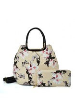 Trukado Fashion bags - Handbag with flowers Magnolia khaki