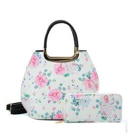 Trukado Handbag with flowers Vintage roses white