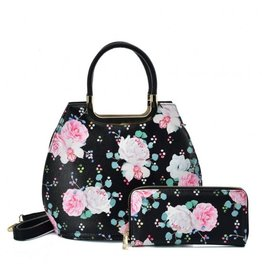 Trukado Handbag with flowers Vintage Roses black