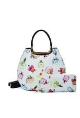 Trukado Fashion bags - Handbag with perfume bottles design Le Parfum white