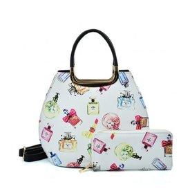 Trukado Handbag with perfume bottles design Le Parfum white