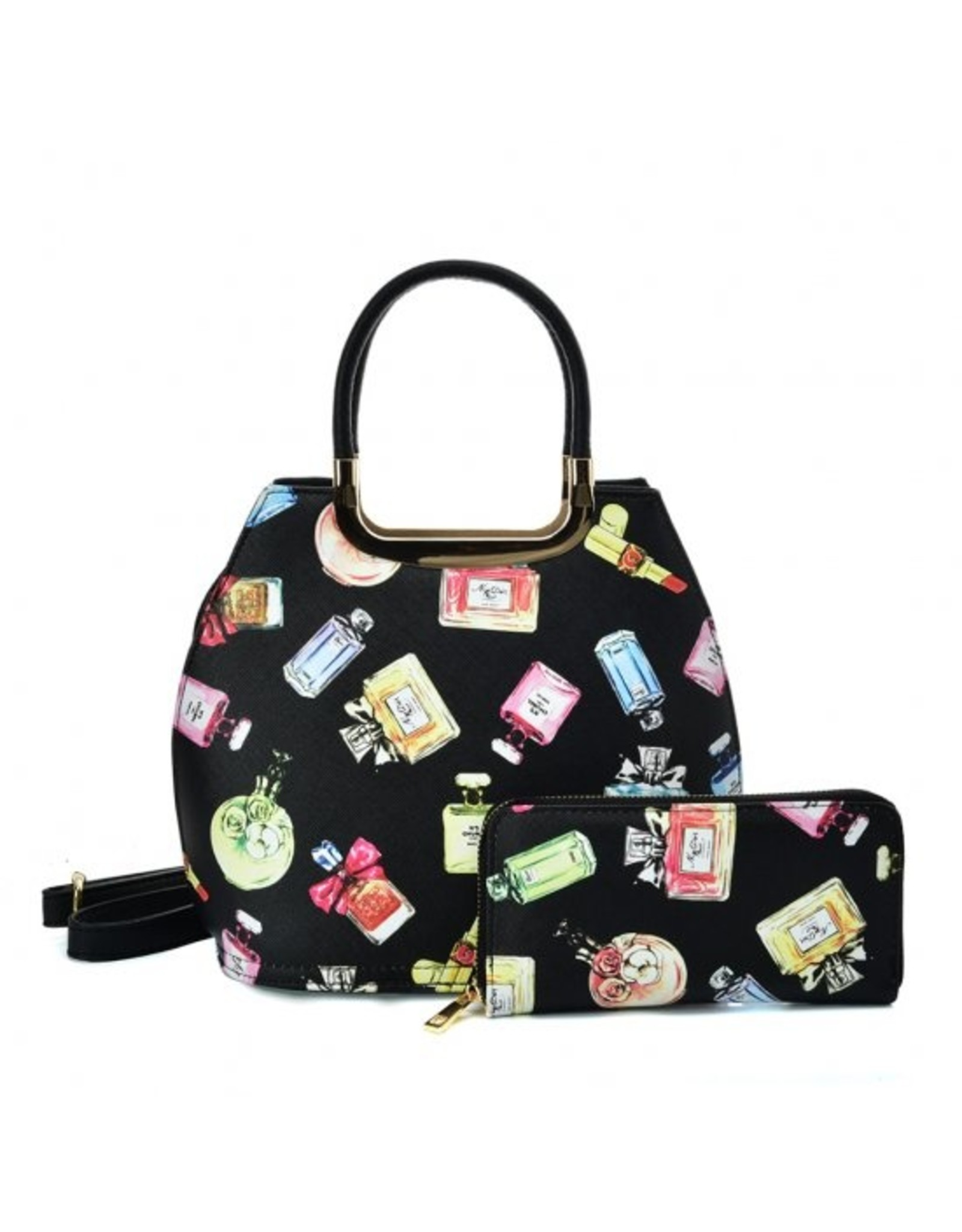 Trukado Fashion bags - Handbag with perfume bottles design Le Parfum black