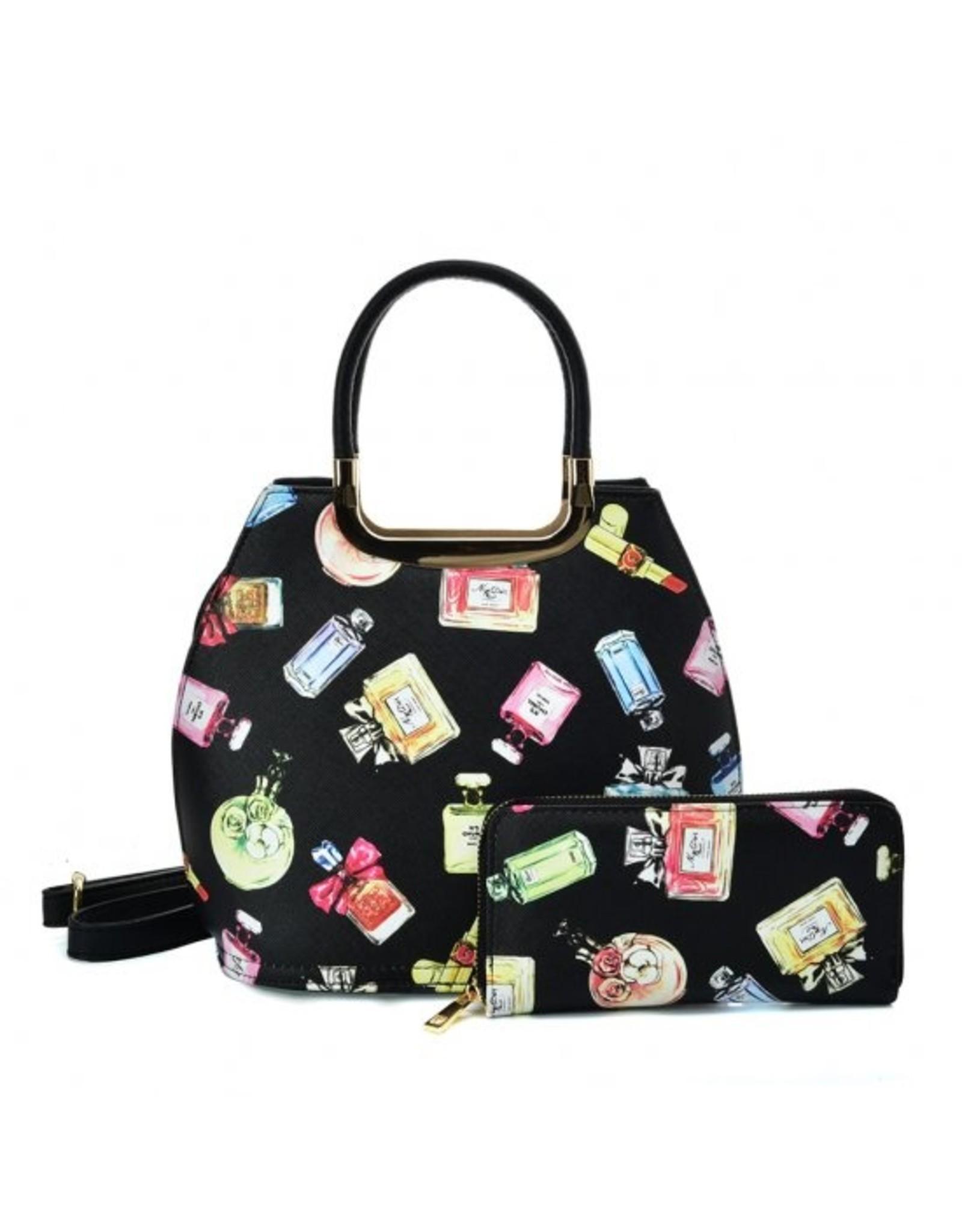 Trukado Modieuze tassen - Handtas met parfum flesjes design Le Parfum zwart