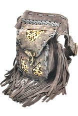 Leather waist bag with fringes and leopard print Ibiza style (grey) Leather Festival bags, waist bags and belt bags - Leather Ibiza waist bag with fringes (grey - leopard)