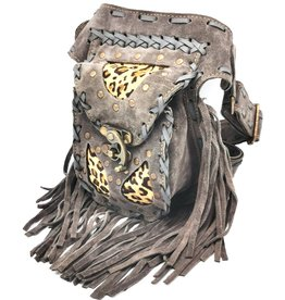 Leather waist bag with fringes and leopard print Ibiza style (grey) Leren Ibiza heuptas met franjes (grijs - luipaard)