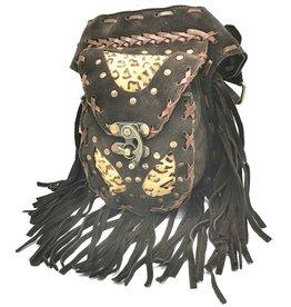 Leren Ibiza heuptas met franjes (bruin - luipaard) Leather Ibiza waist bag with fringes (brown - leopard)